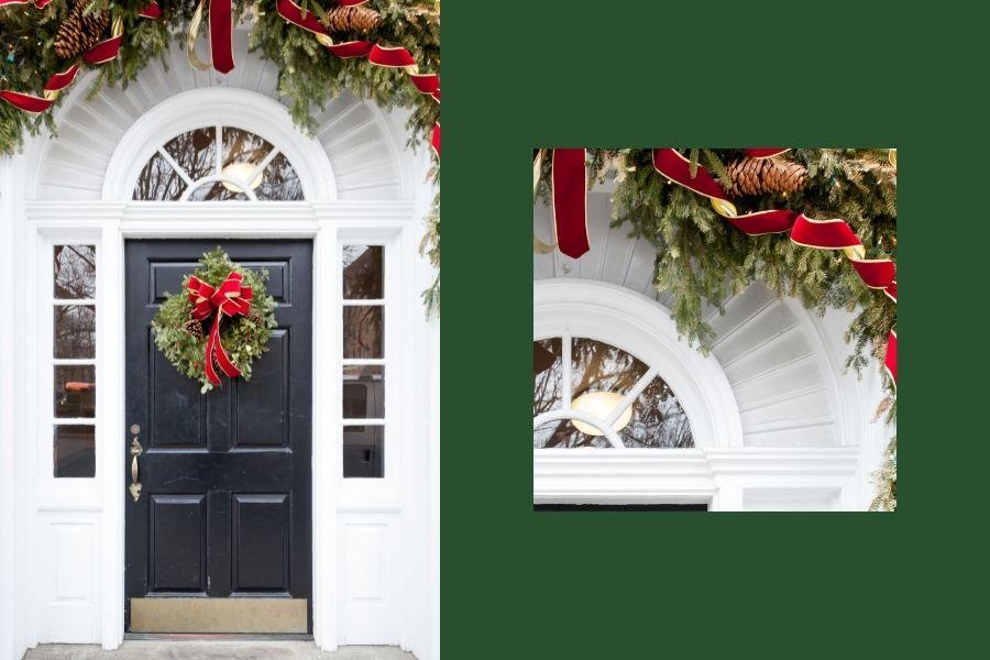 Ideas for Christmas Front Door Decorations above door decor
