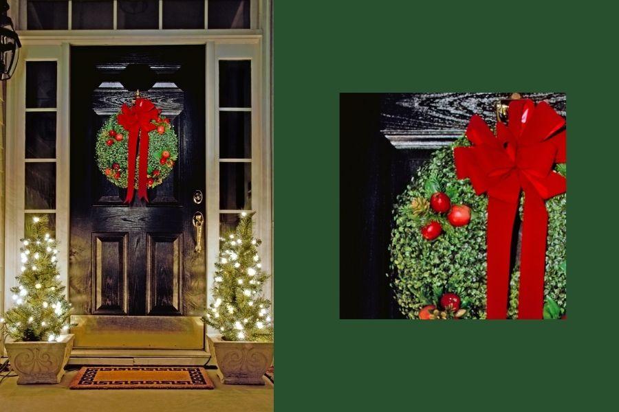 Ideas for Christmas Front Door Decorations  front door apple wreath bow
