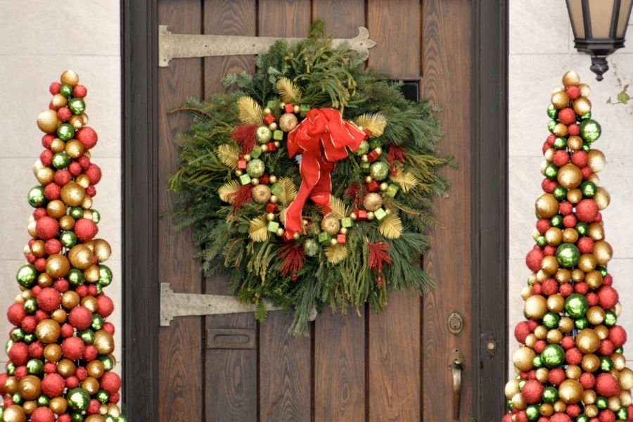 Ideas for Christmas Front Door Decorations bauble wreath and tress