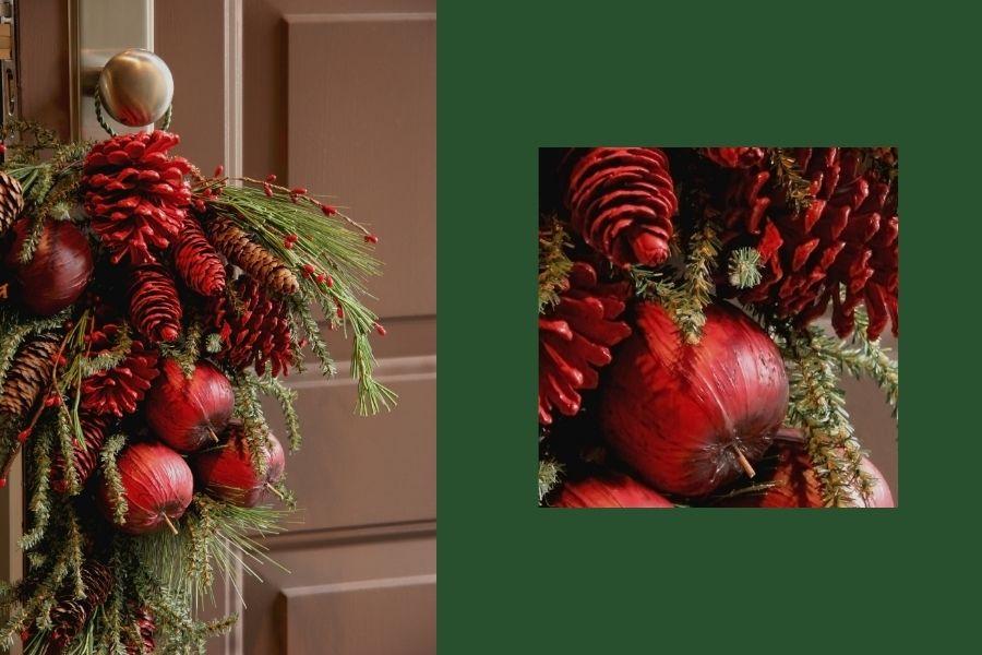 Ideas for Christmas Front Door Decorations  hanging decor doorknob