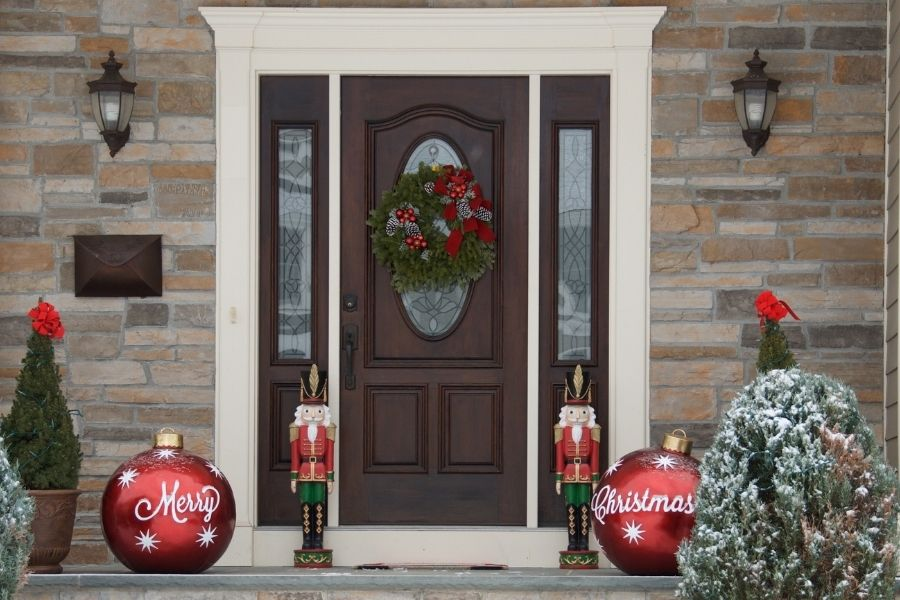 Ideas for Christmas Front Door Decorations Merry Christmas giant baubles nutcracker wreatch trees