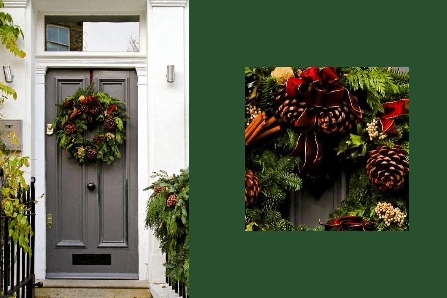 Ideas for Christmas Front Door Decorations pine cones garland wreath cinnamon bow