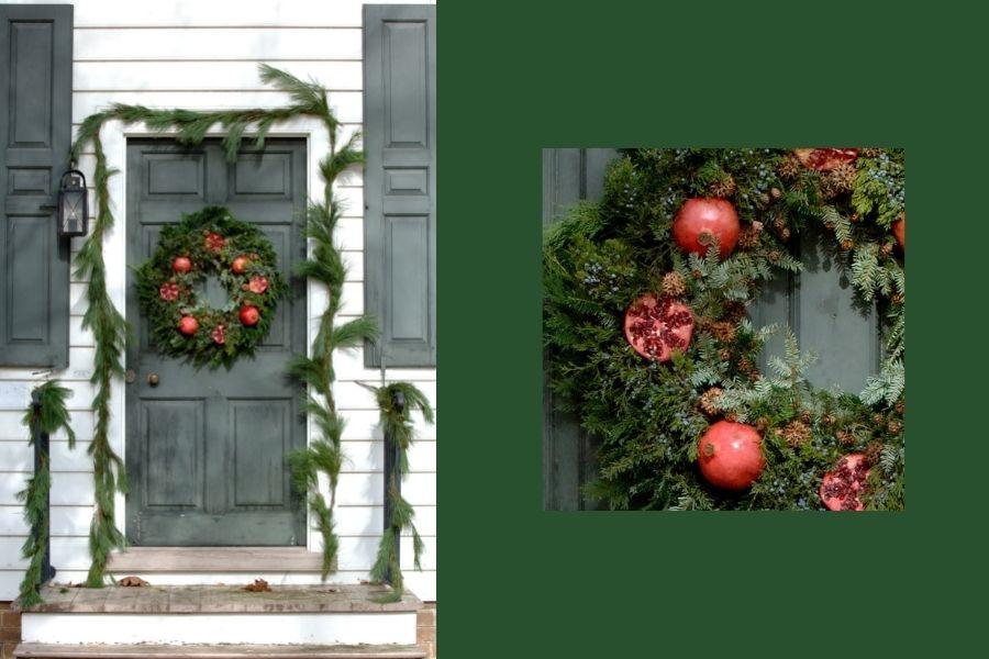 Ideas for Christmas Front Door Decorations  front door pomegranate wreath