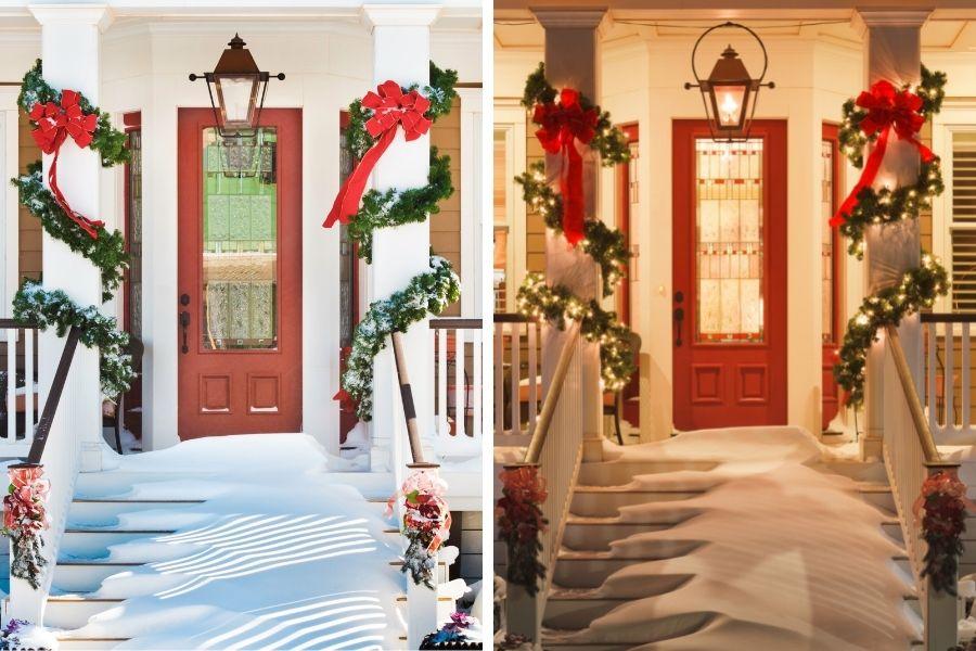 Ideas for Christmas Front Door Decorations pillar bows fairy lights garlands