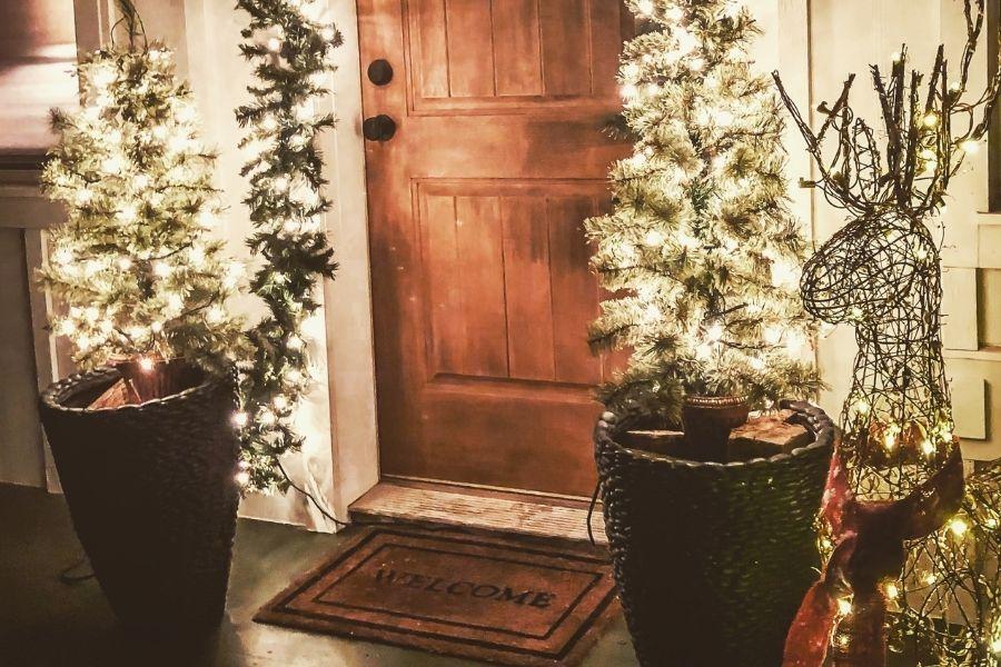 Ideas for Christmas Front Door Decorations  reindeer lights