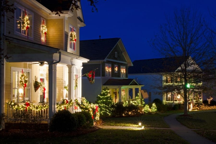 Outdoor Christmas Lights in the front lawn of houses
