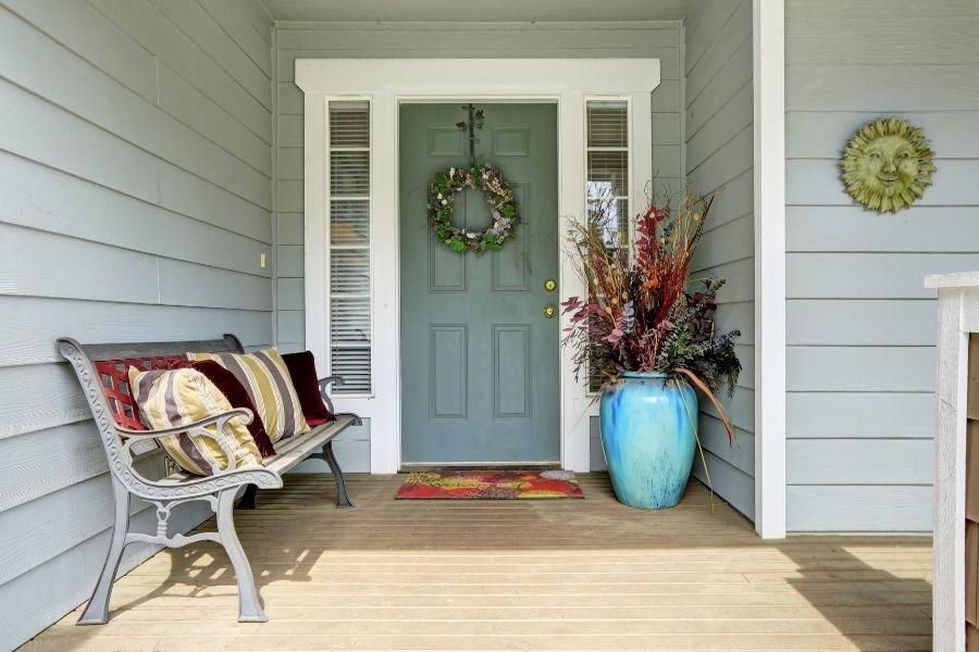 front door ideas decor bench pillows vase wreath