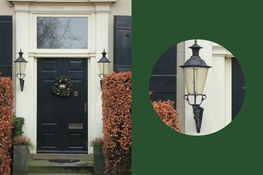 front door ideas side lamps wreath planters